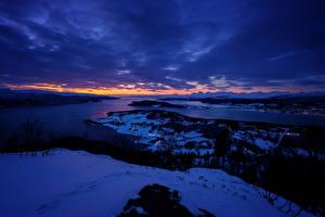 Фотография Норвегия Речка Берег Зимние Вечер Снег Skjerstadfjorden Природа