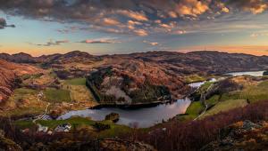 Картинка Норвегия Пейзаж Речка Поля Холмы Облачно Rogaland Природа