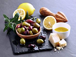 Обои Оливки Лимоны Сыры
