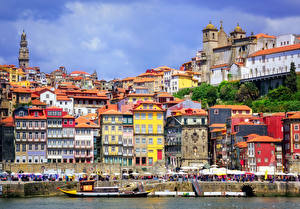 Фотография Порту Португалия Здания Река Причалы