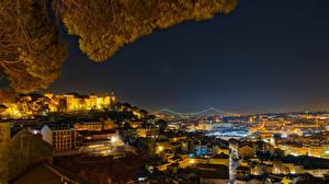 Обои Португалия Дома Ночь Lisbon Города