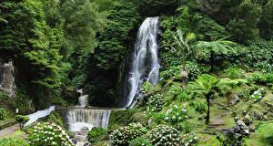 Картинки Португалия Парки Водопады Камни Утес Parque Natural da Ribeira dos Caldeiroes Природа