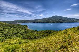 Картинка Россия Реки Холмы Трава Vladivostok Природа