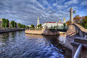 Обои Россия Санкт-Петербург Мосты Здания Водный канал Уличные фонари