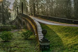 Фото Шотландия Парки Мосты Дороги Трава Dumfries House park Ayrshire