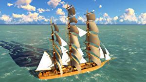 Фотографии Море Корабли Парусные 3D Графика