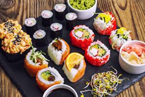 Фотография Морепродукты Суши Рис Доски Пища