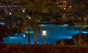 Обои Испания Курорты Вечер Канарские острова Бассейны Уличные фонари Playa Fanabe Tenerife