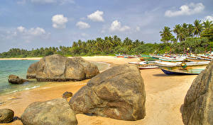 Фото Шри-Ланка Тропики Берег Камень Лодки Galle Природа
