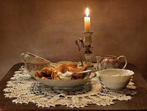 Картинка Натюрморт Свечи Блины Чашка Еда