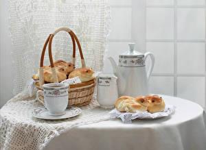 Картинки Натюрморт Чайник Булочки Стол Корзина Чашка Дизайн Пища
