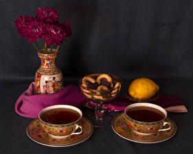 Фотографии Натюрморт Чай Выпечка Лимоны Хризантемы Чашка 2 Вазы Еда