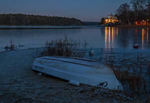 Фотография Швеция Вечер Речка Побережье Лодки