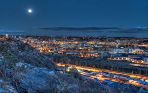 Картинки Швеция Здания Луна Ночные Gothenburg
