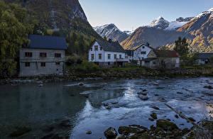 Фотографии Швеция Дома Горы Реки