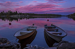 Картинки Швеция Реки Вечер Пирсы Лодки Небо Вдвоем Природа