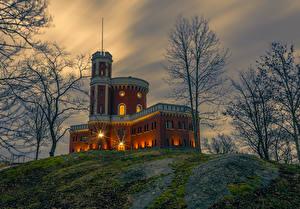 Фото Швеция Стокгольм Замки Вечер Деревья Kastellholmen