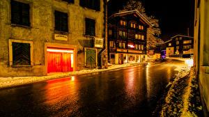 Фото Швейцария Дома Дороги Вечер Зима Улица Muenster Goms Города