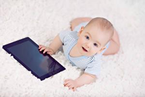 Фотографии Планшетный компьютер Грудной ребёнок Взгляд