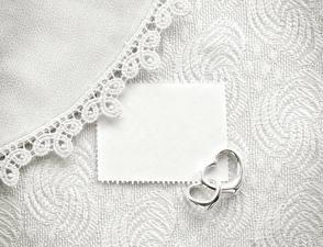 Фотографии Шаблон поздравительной открытки Кольцо 2 Лист бумаги Сердечко