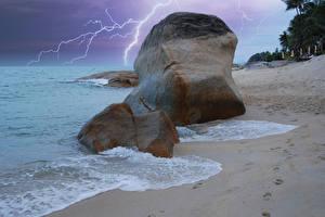 Картинка Таиланд Тропики Побережье Камень Волны Молния Koh-Samui