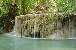 Фото Таиланд Тропики Водопады Мох Erawan waterfall Природа