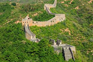 Фотографии Китай Великая Китайская стена Леса Лестницы Природа