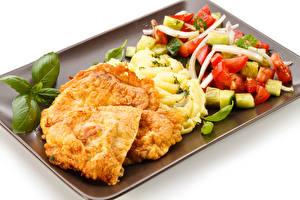 Картинка Вторые блюда Мясные продукты Салаты Овощи Белом фоне