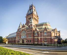 Фотография США Бостон Здания Улица Дизайна Harvard University Города