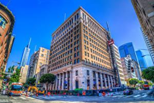 Фотографии Штаты Здания Небоскребы Калифорния Лос-Анджелес HDRI Улица Города