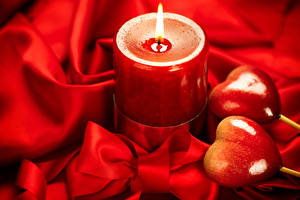 Картинки День всех влюблённых Свечи Сердечко Бантик Красный