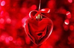 Обои День всех влюблённых Сердце Бантик Красный