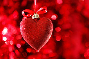 Обои День всех влюблённых Сердечко Бантик Красный