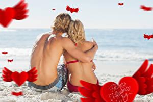 Картинки День всех влюблённых Мужчины Любовь 2 Спина Сидящие Девушки
