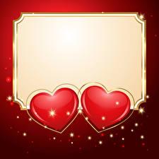 Картинка День святого Валентина Шаблон поздравительной открытки Красный фон Сердце Двое
