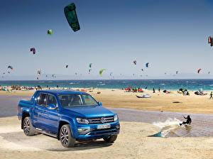 Фотографии Volkswagen Пикап кузов Синий 2016-18 Amarok Double Cab Aventura Автомобили