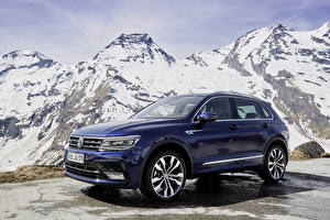 Картинки Volkswagen Синий 2016-18 Tiguan R-Line Worldwide Машины
