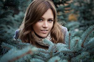 Картинка Зимние Ветки Лицо Взгляд Девушки