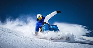 Обои Зимние Сноуборд Мужчины Шлем Снег Спорт