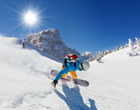 Обои Зимние Сноуборд Мужчины Снег Солнце Спорт
