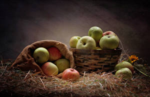 Обои Яблоки Солома Корзинка Продукты питания