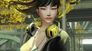 Фото Азиаты Наушники Брюнетка Смотрит Девушки 3D_Графика