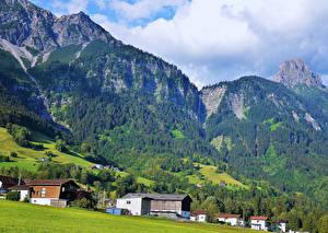 Фотография Австрия Горы Леса Здания Bludenz Природа