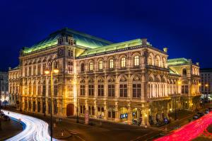 Обои Австрия Вена Дома Ночные Уличные фонари Staatsoper Opera House