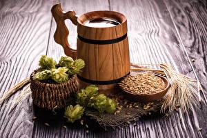 Картинки Пиво Хмель Доски Кружка Корзины Зерно Колосок Продукты питания