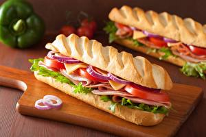 Фотографии Хлеб Сэндвич Ветчина Помидоры