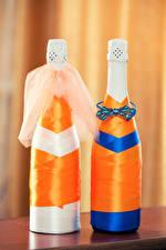 Картинки Шампанское Бутылка Двое Дизайн Свадьба Еда
