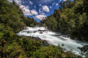 Картинки Чили Леса Речка Водопады Облака Neltume Природа