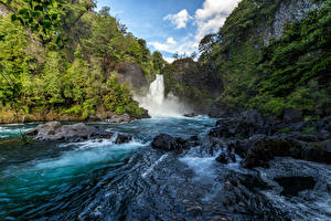 Обои Чили Речка Водопады Камень Утес Neltume Природа