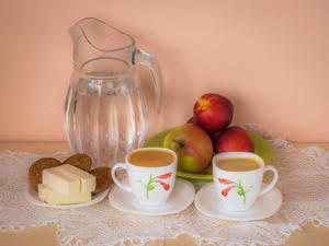Картинка Кофе Яблоки Печенье Кувшин Чашка 2